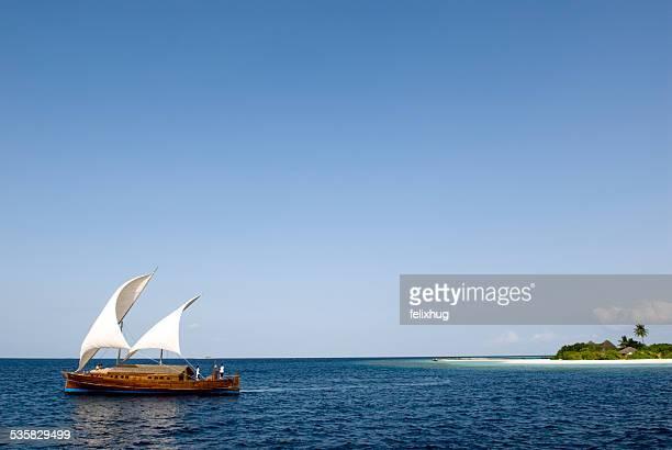 Maldives, Traditional Dhoni on sea