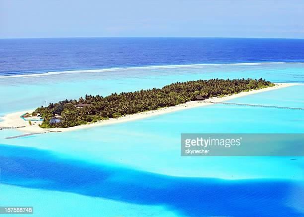 Maldiviano su un'isola esotica con trasparente laguna.