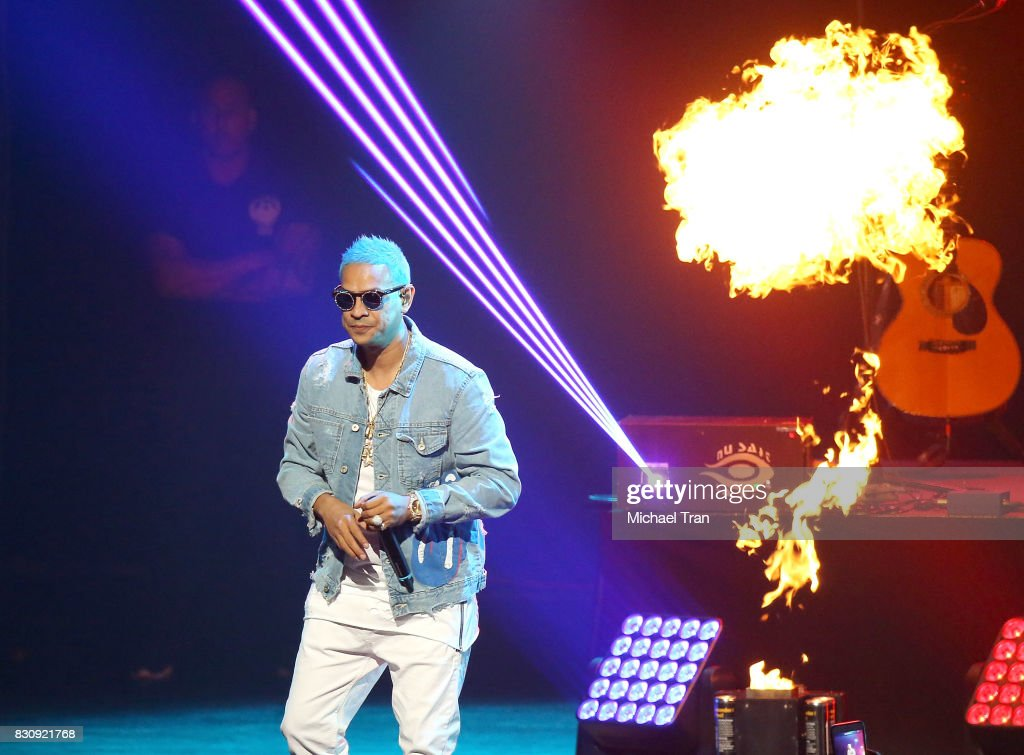 Maldy of Plan B performs onstage during the 2017 El Ganador US Tour held at Microsoft Theater on August 12, 2017 in Los Angeles, California.