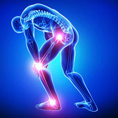 male all joints pain in blue