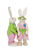 Male and female Bunnies standing over white background
