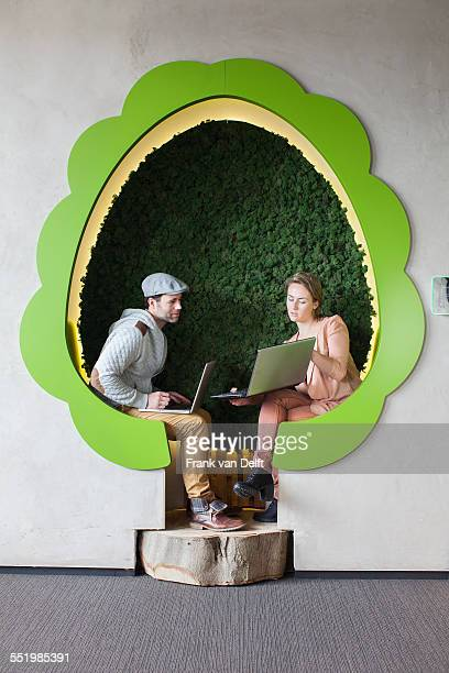 Male and female designers working on laptops in tree shaped office space