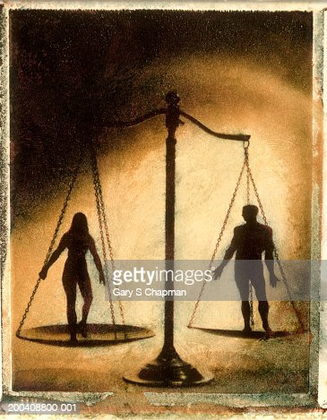 Male and female figures on scale (Digital Composite) : Stock Photo