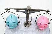 Male and Female Piggy Bank on Balance