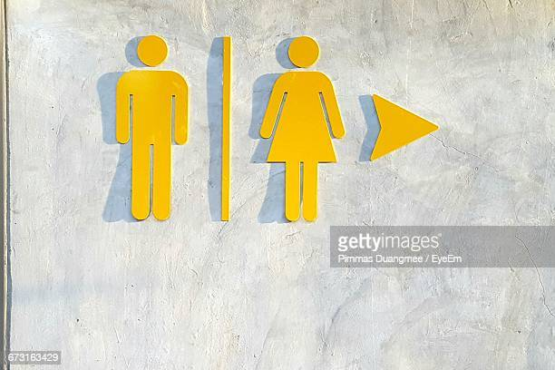 Male And Female Symbol On Wall Of Restroom