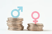 Male and female symbols on piles of coins - Gender pay equality concept