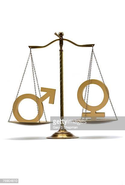 Male and female symbols on scales