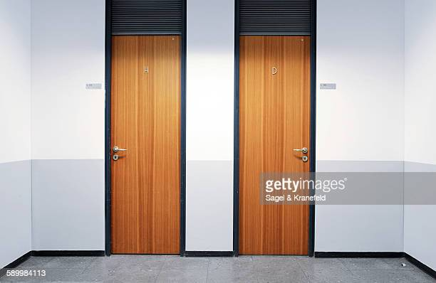 Male and Female Wooden Restroom Doors