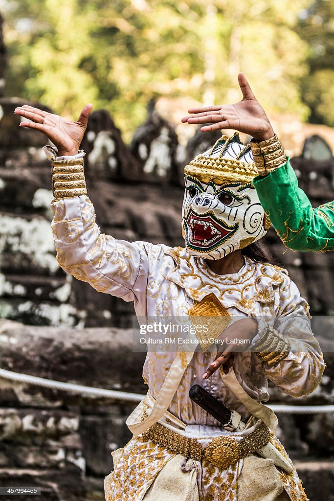 Male Apsara Dancer (Prince or Monkey from Hindu and Buddhist mythology),Bayon Temple, Angkor Thom, Cambodia
