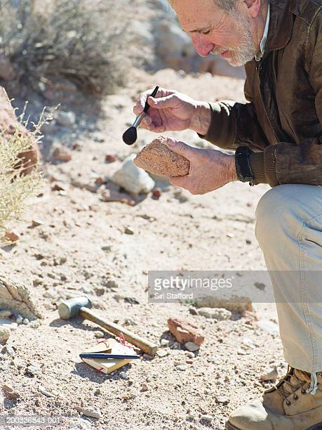 Male archaeologist dusting rock