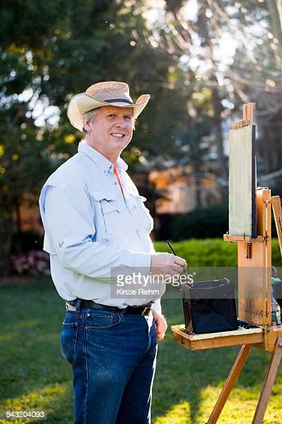 Male artist in Albin Polasek Museum and Sculpture Garden, Winter Park, Florida, USA
