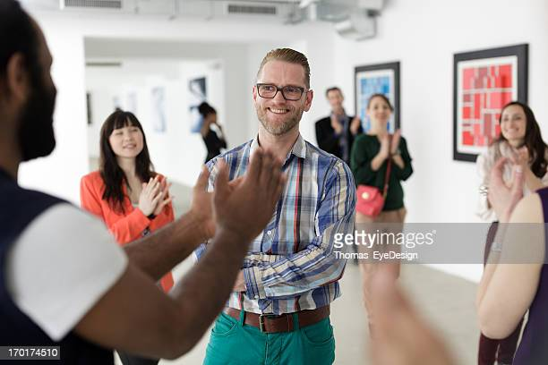 Male Artist in Art Gallery
