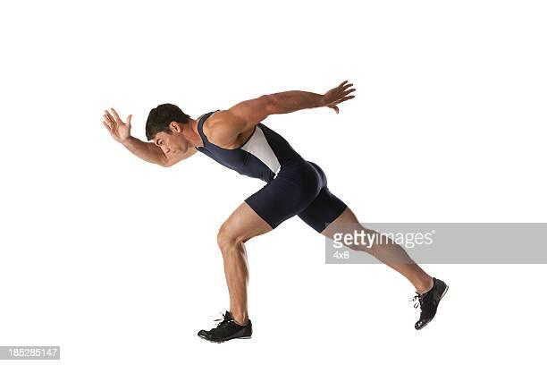 Male athlete running