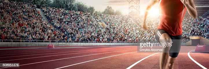 Male athlete sprinting