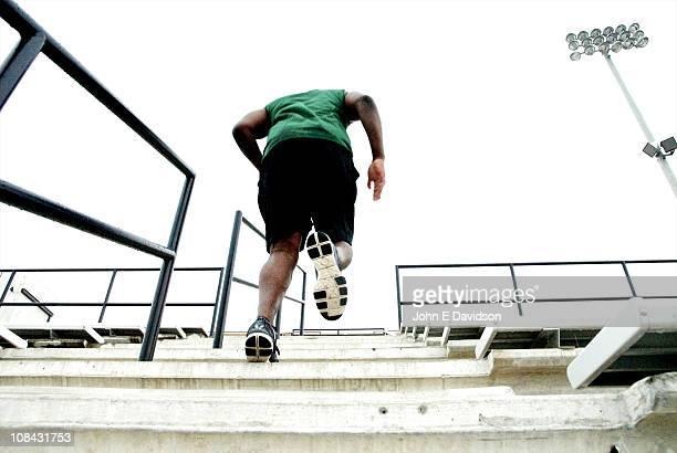 A male athlete trains