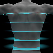 male back torso is scanned by light layers. 3d rendering