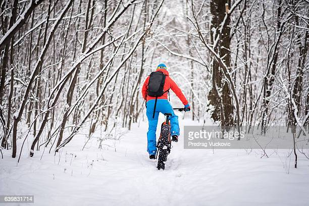 Male bicycle rider in the forest