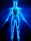 Male body covered in electronic circuits
