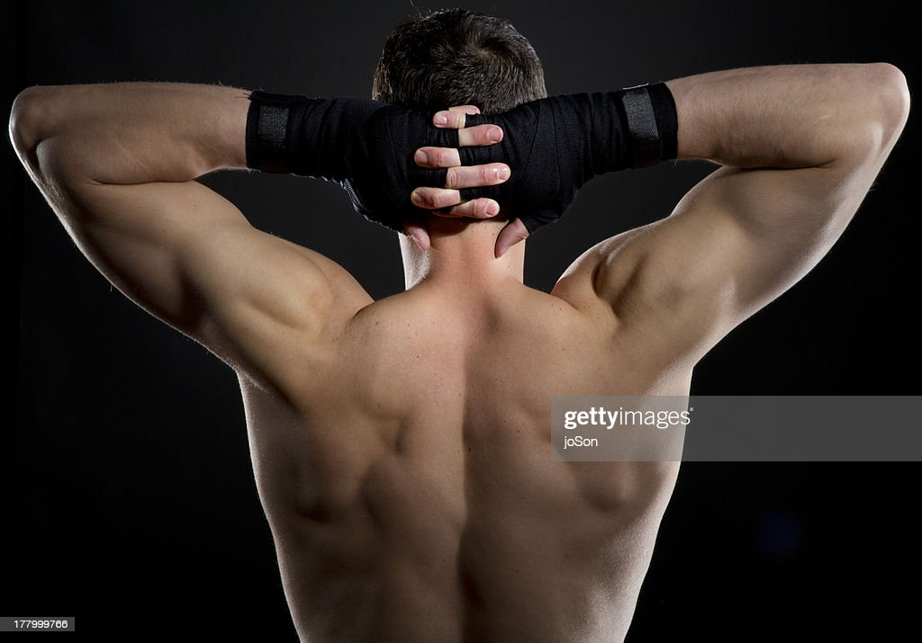Male Boxer Celebrating His Victory : Stock Photo