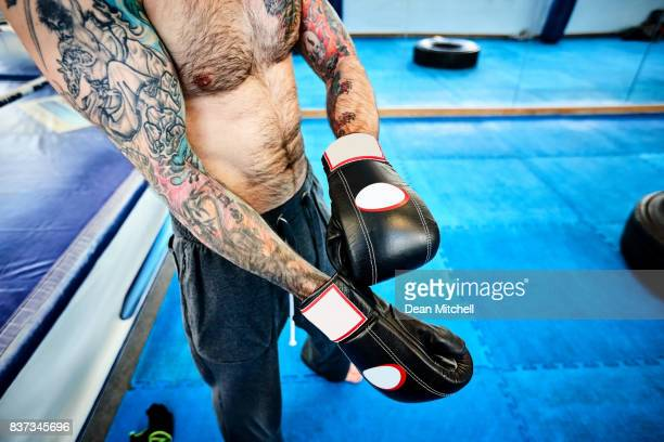 Male boxer getting ready for boxing workout