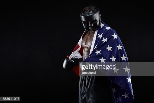 Male boxer with American flag : Stock Photo