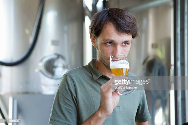 Male brewer tasting glass of beer