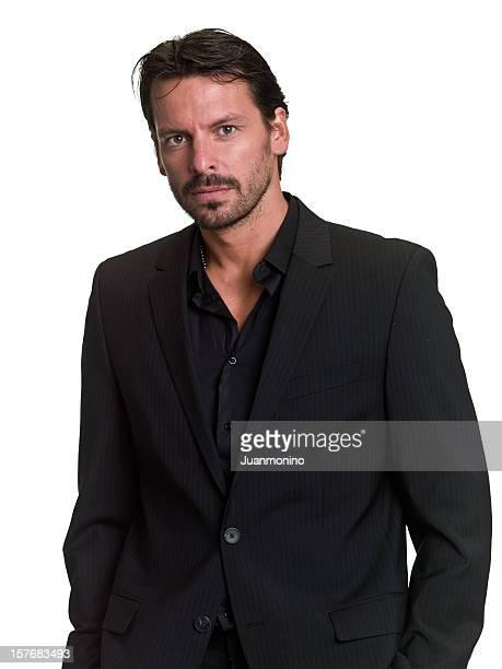 Homme d'affaires en costume noir exécutif