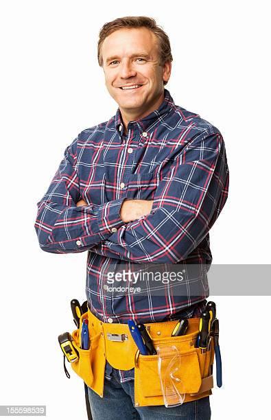 Männliche Carpenter dich selbstbewusst mit Utility-Gürtel-isoliert