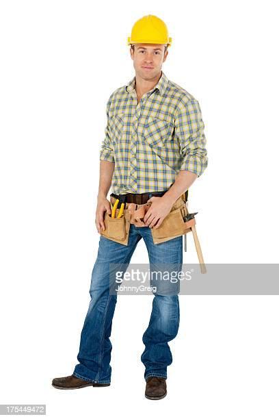 Männliche Carpenter mit Werkzeuggürtel