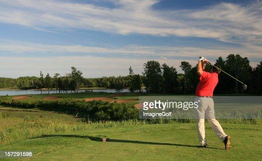Male Caucasian Golfer in Red Golf Shirt