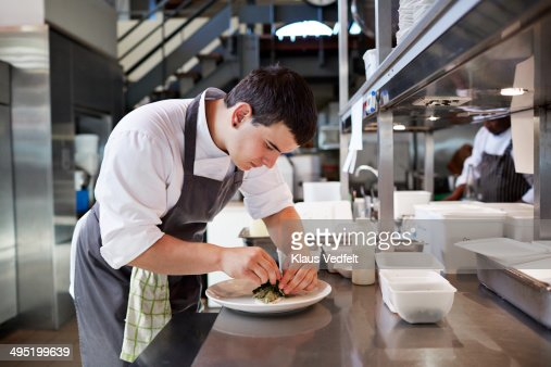 Male chef preparing dish at high-end restaurant