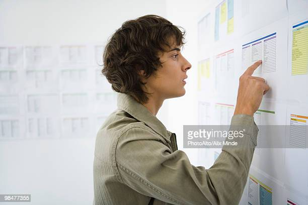 Male college student checking results posted on bulletin board