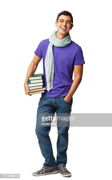 Male College Student Holding Books - Isolated