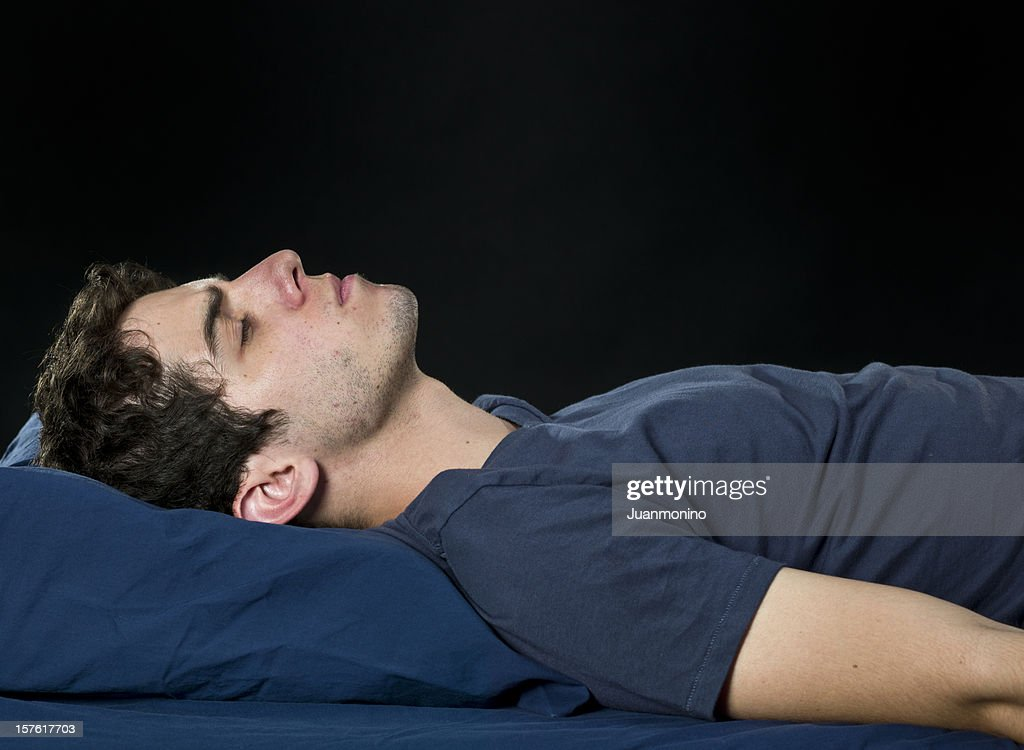 Male college student sleeping