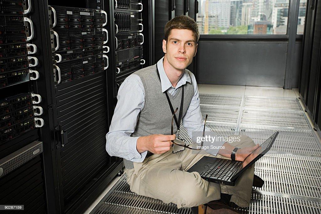 Male computer technician working