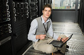 Male computer technician working