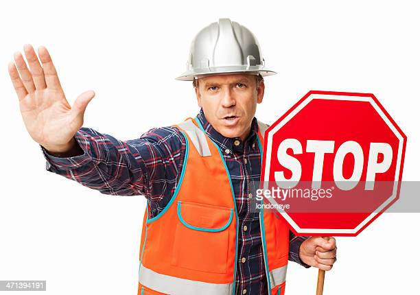 Male Construction Worker Holding a Stop Sign - Isolated