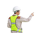 Male construction worker pointing isolated on white background.