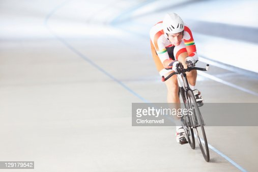Male cyclist riding bike