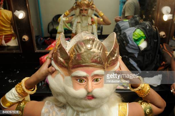 A male dancer gets ready to perform play Mahisasuramardini at Gyan Mancha on September 18 2017 in Kolkata India 61 dancers of Male Dance Academy...