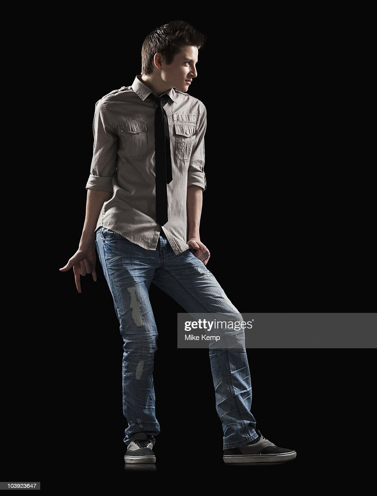 Male dancer posed for a lyrical dance : Stock Photo