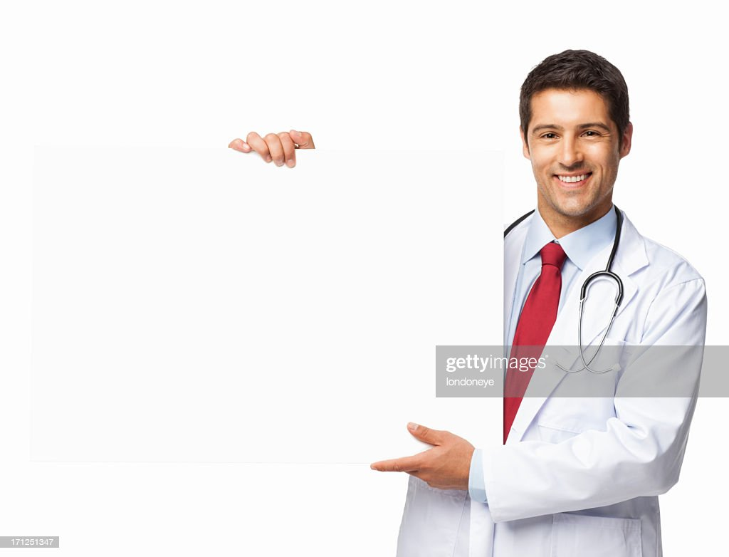 Male Doctor Holding a Blank Sign - Isolated : Stock Photo