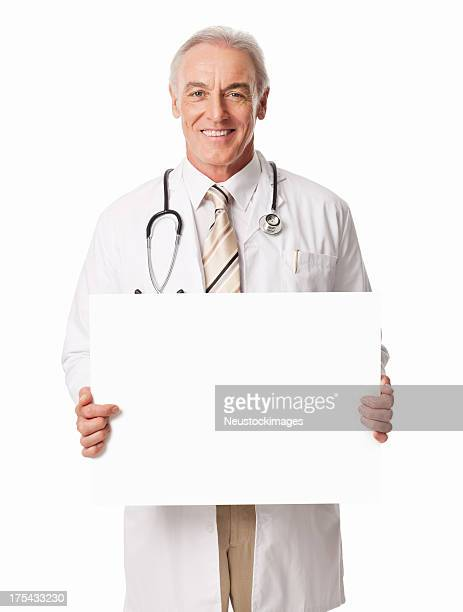 Male Doctor Holding Blank Sign- Isolated