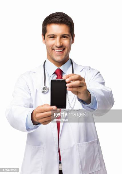 Male Doctor Holding Smart Phone - Isolated