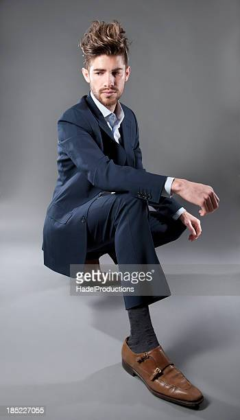 Male Fashion Model on grey background