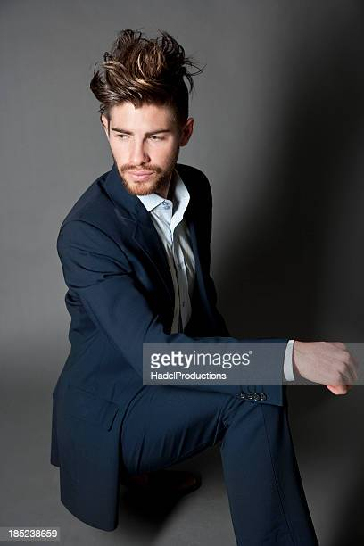 Male Fashion Model on grey textured background
