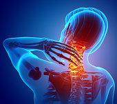 3d Illustration of men Feeling the Neck Pain