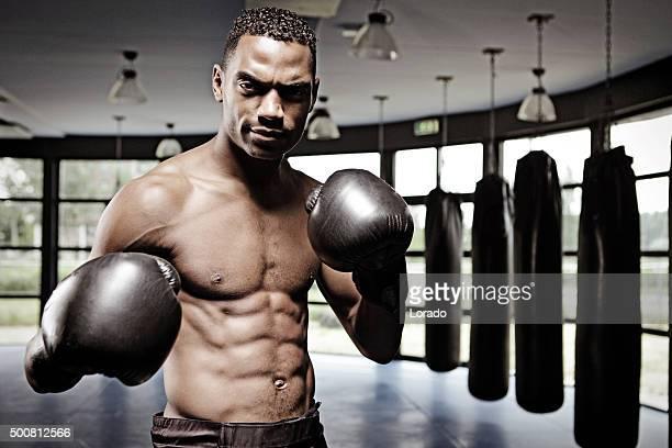 Male fighter in fighting stance in a dojo