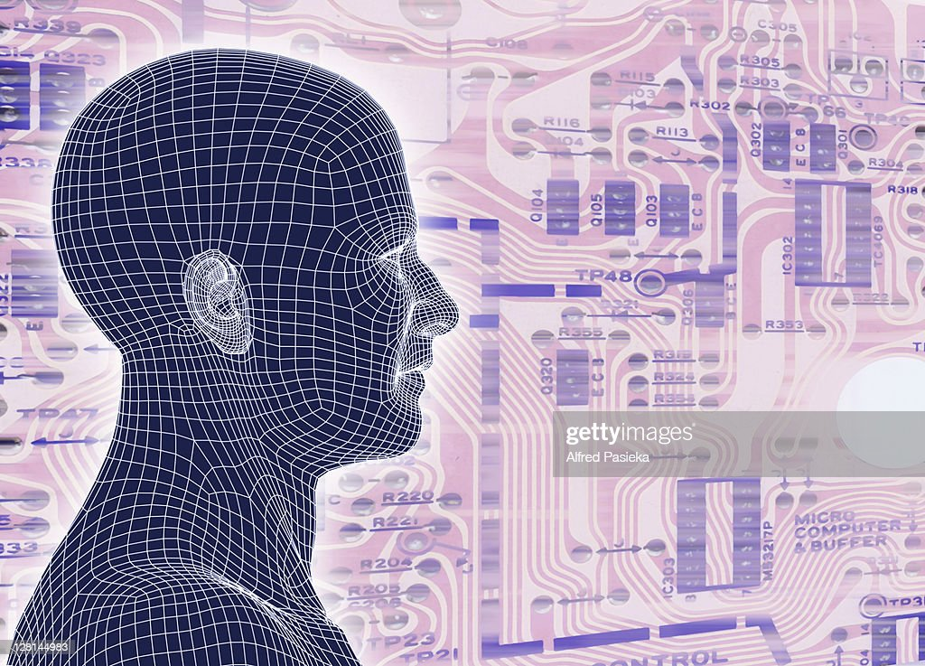 Male figure standing against pink circuit board : Stock Photo