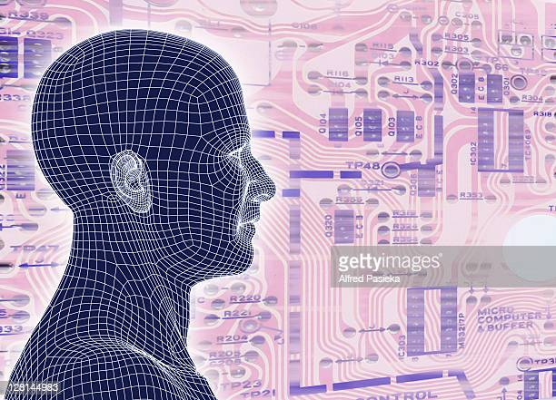 Male figure standing against pink circuit board